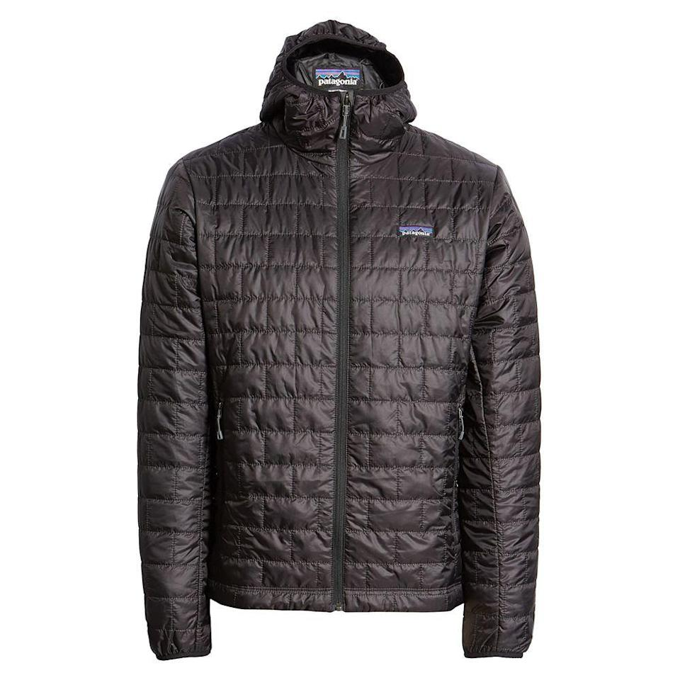 """<p><strong>PATAGONIA</strong></p><p>nordstrom.com</p><p><a href=""""https://go.redirectingat.com?id=74968X1596630&url=https%3A%2F%2Fwww.nordstrom.com%2Fs%2Fpatagonia-nano-puff-hooded-jacket%2F4270402&sref=https%3A%2F%2Fwww.menshealth.com%2Fstyle%2Fg33510339%2Fnordstrom-anniversary-sale-2020%2F"""" rel=""""nofollow noopener"""" target=""""_blank"""" data-ylk=""""slk:BUY IT HERE"""" class=""""link rapid-noclick-resp"""">BUY IT HERE</a></p><p><del><strong>$249</strong></del> <strong>$174.90 (30% off)</strong></p><p>In the words of House Stark, winter is coming—eventually. Not only will Patagonia's Nano Puff jacket keep you warm, but it'll also fit into a small pouch when idle. </p>"""