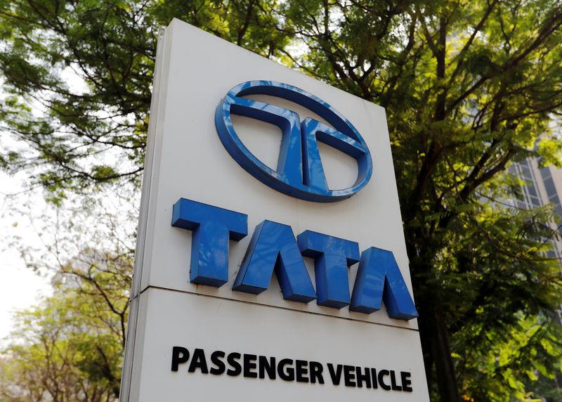 A Tata Motors logo is pictured outside the company showroom in Mumbai
