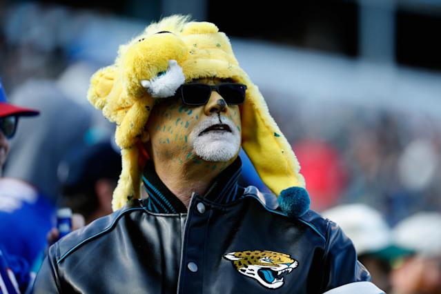 <p>A fan watches the game between the Jacksonville Jaguars and Buffalo Bills during the AFC Wild Card Playoff game at EverBank Field on January 7, 2018 in Jacksonville, Florida. (Photo by Scott Halleran/Getty Images) </p>