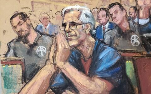 Court sketch of Jeffrey Epstein during a a bail hearing in his sex trafficking case - Credit: REUTERS/Jane Rosenberg