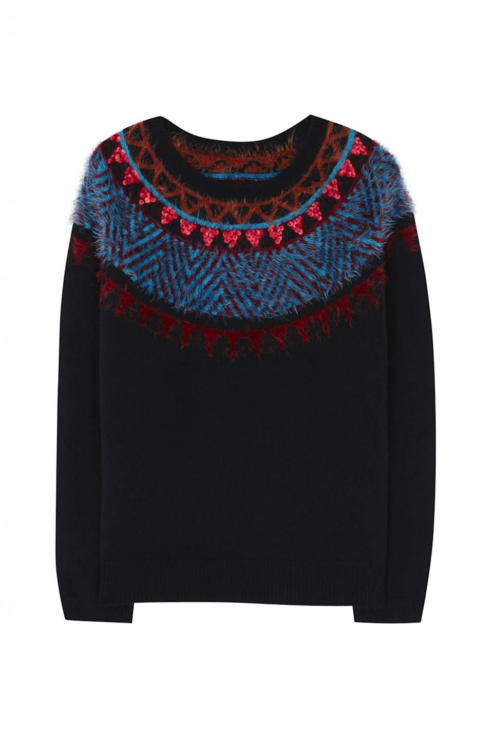 <p>We love that this jumper is festive, but not too festive. Made from a delicate wool mix, it's soft and snug and boasts a fine trim of sequins. </p>