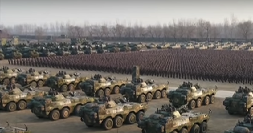 Thousands of Chinese soldiers at a military rally in 2018. Source: CCTV