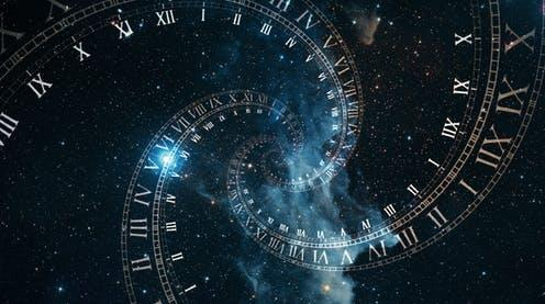 "<span class=""caption"">Measuring time.</span> <span class=""attribution""><a class=""link rapid-noclick-resp"" href=""https://www.shutterstock.com/image-illustration/composition-space-time-flight-spiral-roman-1221181900"" rel=""nofollow noopener"" target=""_blank"" data-ylk=""slk:Shutterstock/FlashMovie"">Shutterstock/FlashMovie</a></span>"