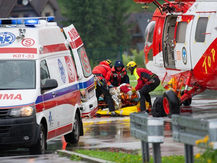 Rescuers airlift a lightning strike victim in Poland's Tatra Mountains: Getty
