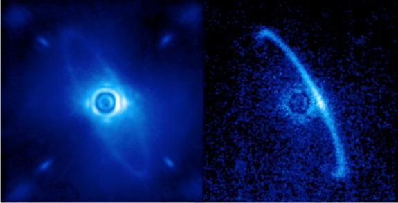 Gemini Planet Imager's first light image of the light scattered by a disk of dust orbiting the young star HR4796A. This narrow ring is thought to be dust from asteroids or comets left behind by planet formation; some scientists have theorized t