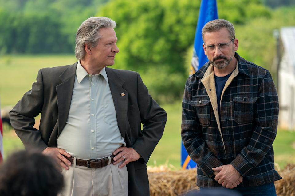 """Retired Marine colonel Jack Hastings (Chris Cooper, left) runs for mayor of his small Wisconsin town with the help of Gary Zimmer (Steve Carell) in """"Irresistible,"""" written and directed by Jon Stewart."""