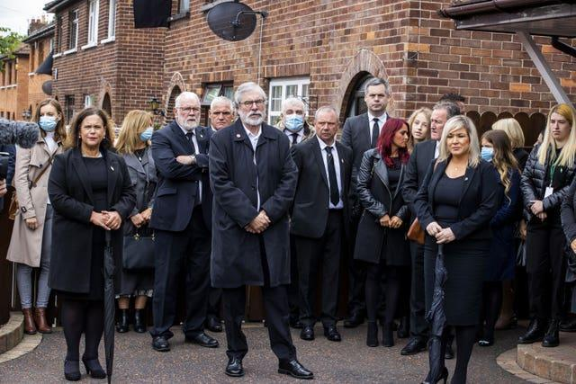 Sinn Fein leader Mary Lou McDonald, former party leader Gerry Adams, and deputy First Minister Michelle O'Neill attending the funeral