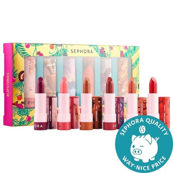 """<p>This new <product href=""""https://www.sephora.com/product/sephora-collection-under-mistletoe-lipstories-set-P461494?icid2=products%20grid:p461494"""" target=""""_blank"""" class=""""ga-track"""" data-ga-category=""""internal click"""" data-ga-label=""""https://www.sephora.com/product/sephora-collection-under-mistletoe-lipstories-set-P461494?icid2=products%20grid:p461494"""" data-ga-action=""""body text link"""">Sephora Collection Under the Mistletoe #Lipstories Lipstick Set</product> ($29) has six full-sized shades to add to any lipstick lovers' collection.</p>"""