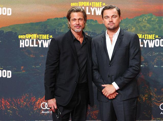 Brad Pitt and Leonardo DiCaprio, co-stars in <em>Once Upon a Time in Hollywood</em>, are friends off camera, too. (Photo: Brian Dowling/Getty Images for Sony Pictures)