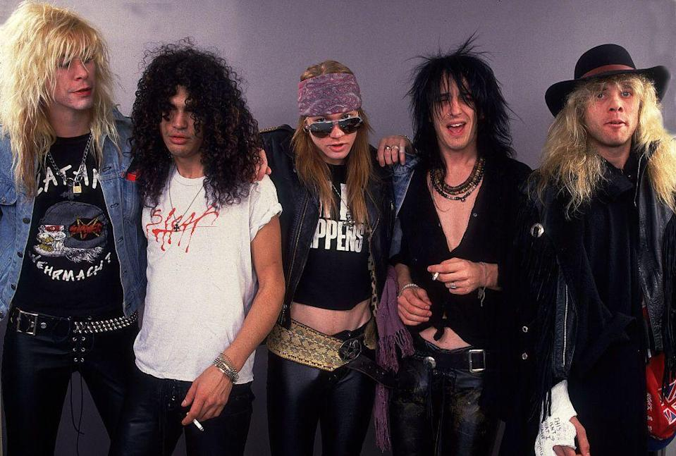 """<p>This hard rock band formed in 1985, with Axl Rose, Slash, Izzy Stradlin, Duff McKagan and Steven Adler. Their debut album """"Appetite for Destruction"""" was a smash hit thanks to Slash's skills and Axl's unique voice. With hits """"Welcome to the Jungle"""", """"Paradise City"""" and """"Sweet Child o'Mine"""", GNR continued to make hits with """"G N' R Lies"""", and """"Use Your Illusion I and II"""". If you are too young to remember, go watch the video for """"November Rain"""" right now. </p>"""