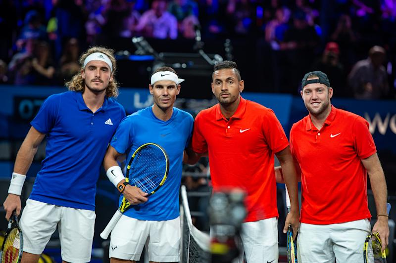 Stefanos Tsitsipas and Rafael Nadal of Team Europe and Nick Kyrgios and Jack Sock of Team World pose for a photo.