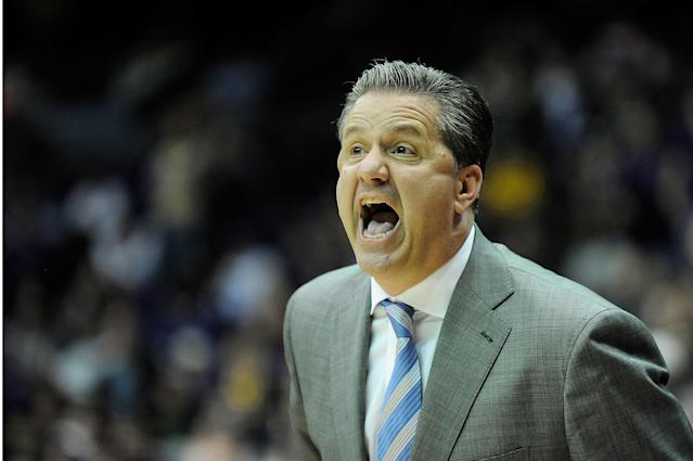 BATON ROUGE, LA - JANUARY 28: Head coach John Calipari of the Kentucky Wildcats reacts to a called foul during a game against the LSU Tigers at the Pete Maravich Assembly Center on January 28, 2014 in Baton Rouge, Louisiana. LSU won the game 87-82. (Photo by Stacy Revere/Getty Images)