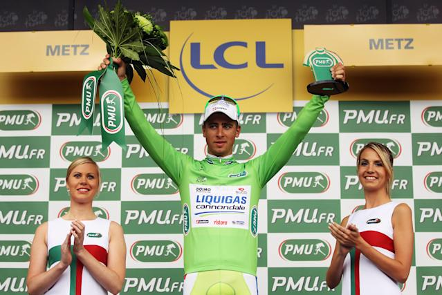 METZ, FRANCE - JULY 06: Peter Sagan of Slovakia and Liquigas-Cannondale retained his green points jersey after winning stage six of the 2012 Tour de France from Epernay to Metz on July 6, 2012 in Metz, France. (Photo by Bryn Lennon/Getty Images)
