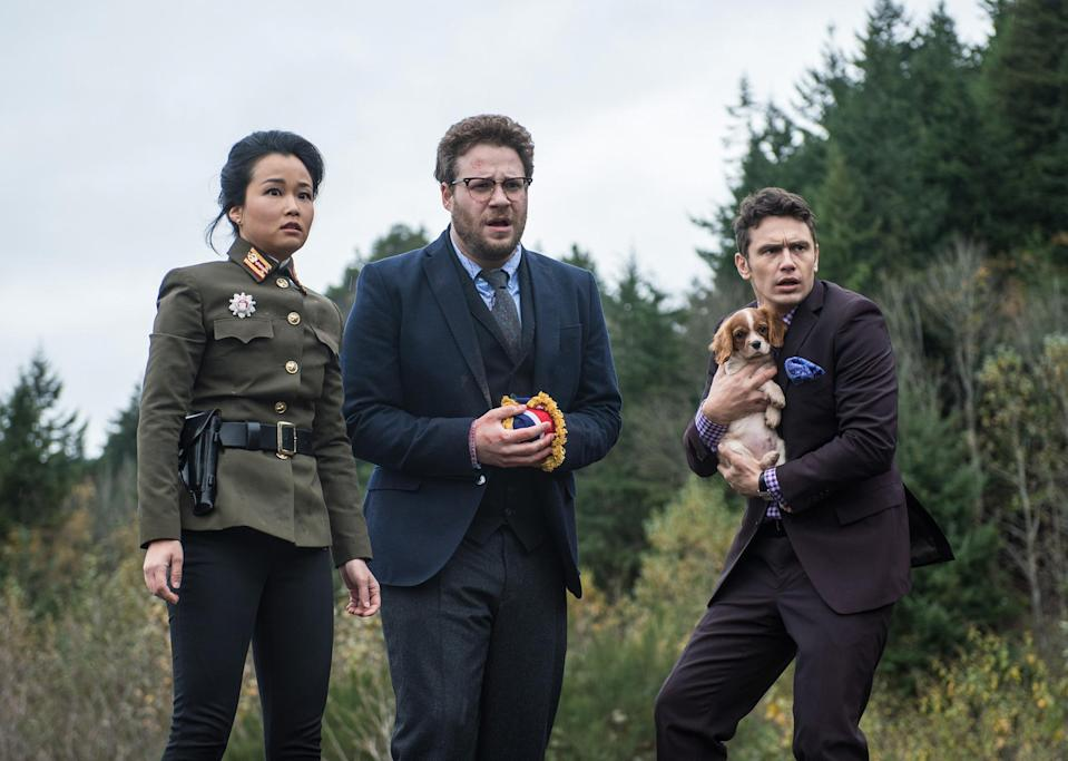 THE INTERVIEW, from left: Diana Bang, Seth Rogen, James Franco, 2014. (Sony)