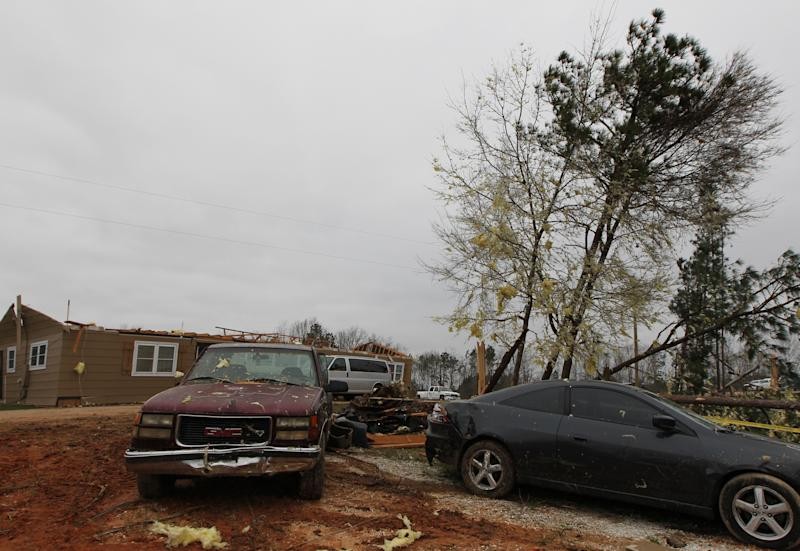 Damage is seen at a home from a tornado which killed at least 23 people in Beauregard, Alabama on March 4, 2019. (Photo: Tami Chappell/AFP/Getty Images)