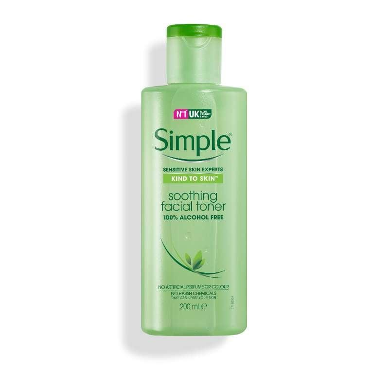 "<p>Almost like splashing water on your face, this <a href=""https://www.simpleskincare.com/my/products/face-cleansers-and-toners/kind-to-skin-soothing-facial-toner.html"" class=""link rapid-noclick-resp"" rel=""nofollow noopener"" target=""_blank"" data-ylk=""slk:Simple Soothing Facial Toner"">Simple Soothing Facial Toner</a> is refreshing - but not at all abrasive. It's loaded with witch hazel to tone, pro-vitamin B5 to hydrate, and chamomile to calm.</p>"