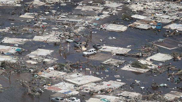 PHOTO: An aerial view of damage caused by Hurricane Dorian is seen on Great Abaco Island on Sept. 4, 2019, in Great Abaco, Bahamas. (Scott Olson/Getty Images)