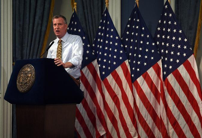 New York City Mayor Bill de Blasio speaks at City Hall on July 3, 2014 in New York