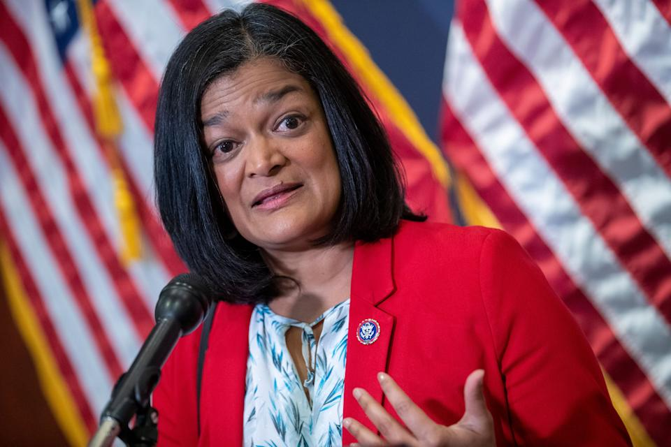 Rep. Pramila Jayapal responds to a question from the news media about the ongoing infrastructure negotiations during a press briefing in the US Capitol in Washington, DC on June 15, 2021. (Shawn Thew/EPA-EFE/Shutterstock)