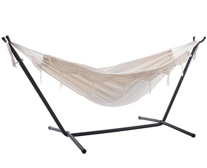 <p>A backyard hammock is literally everyone's dream. This <span>Vivere Double Hammock With Space Saving Steel Stand, Natural</span> ($130) will keep you relaxed all summer.</p>