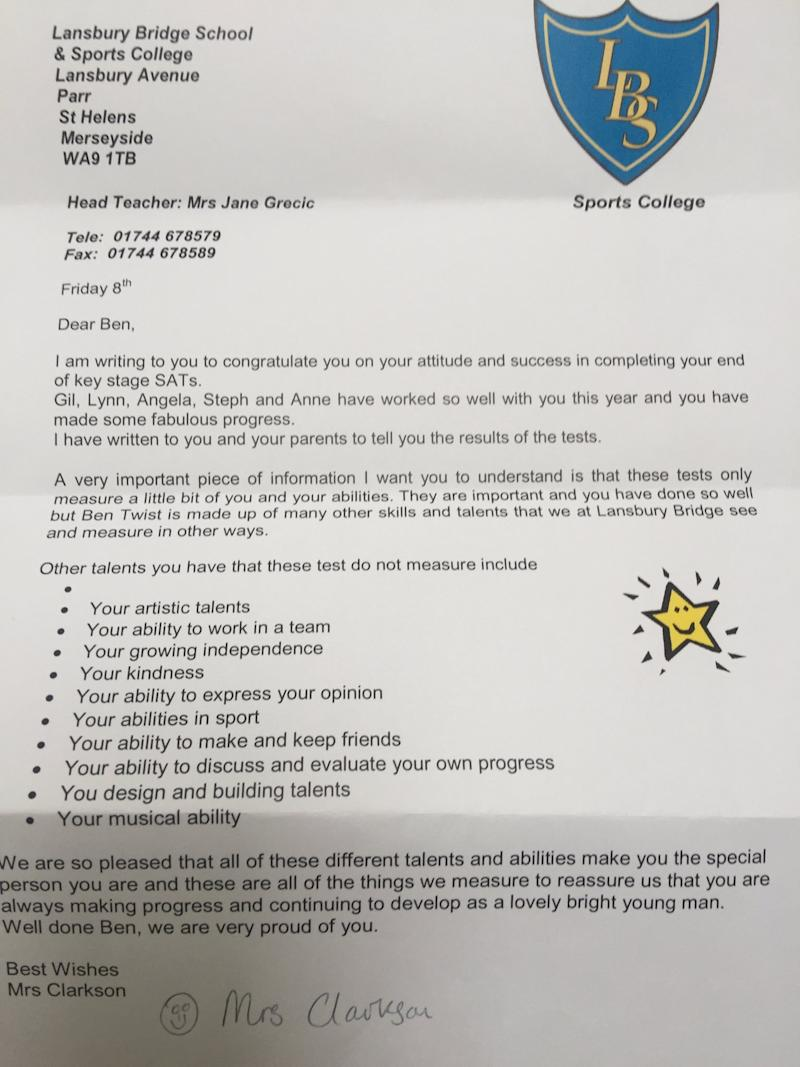 A Boy With Autism Failed a Test and Got This Moving Letter From His Teacher