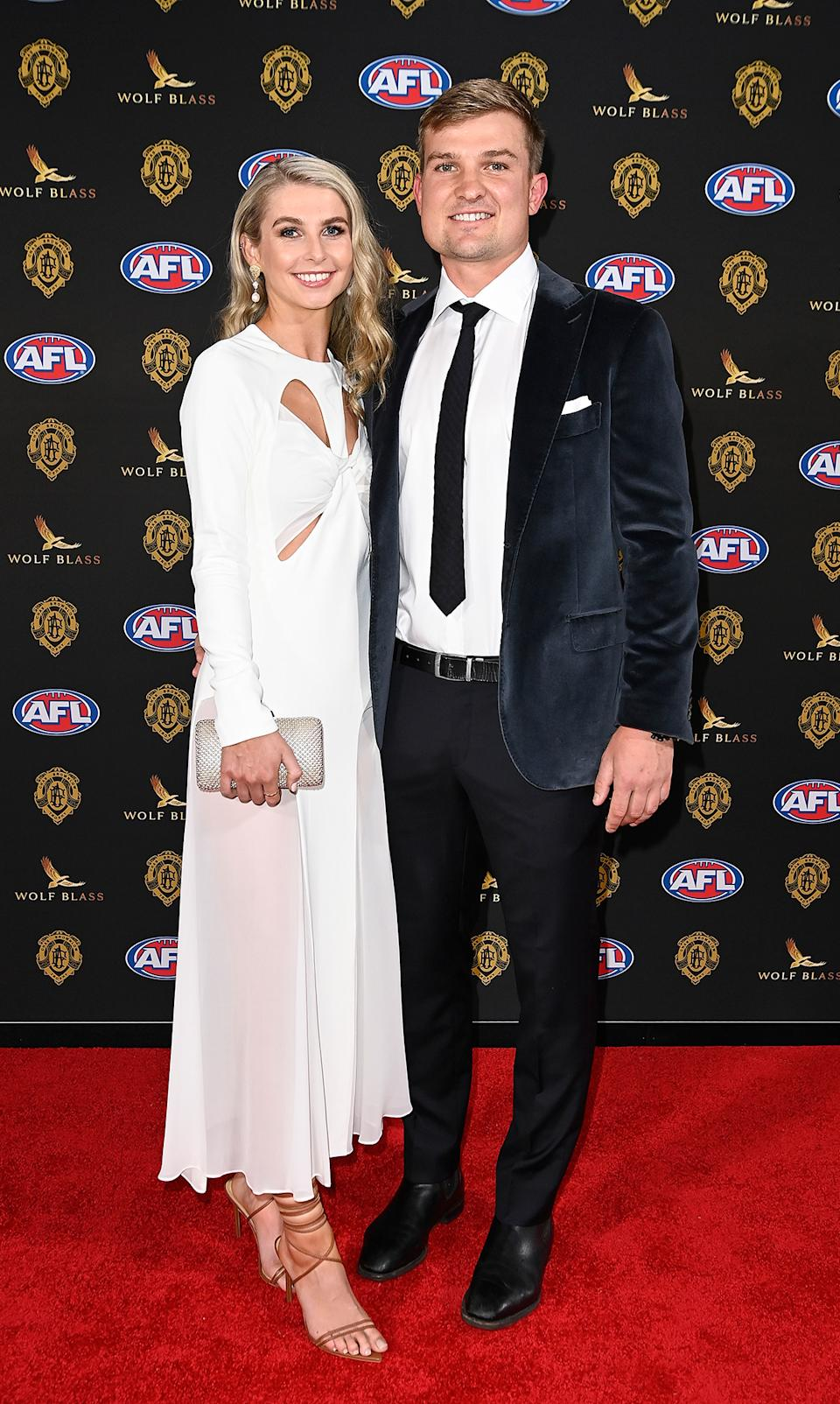 Ollie Wines and Olivia May at the 2021 Brownlow Red Carpet