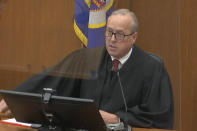 In this image taken from video, Hennepin County Judge Peter Cahill presides over the sentencing of former Minneapolis police Officer Derek Chauvin Friday, June 25, 2021, at the Hennepin County Courthouse in Minneapolis. Chauvin faces decades in prison for the May 2020 death of George Floyd. (Court TV via AP, Pool)