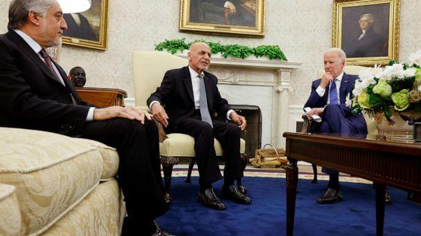 PHOTO: President Joe Biden meets with Afghan President Ashraf Ghani and Chairman of Afghanistan's High Council for National Reconciliation Abdullah Abdullah at the White House in Washington, June 25, 2021. (Jonathan Ernst/Reuters)