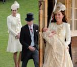 <p>Duchess Kate wore this custom soft yellow Alexander McQueen dress coat twice: to Prince George's christening in October 2013 and to a garden party in May 2016. </p>
