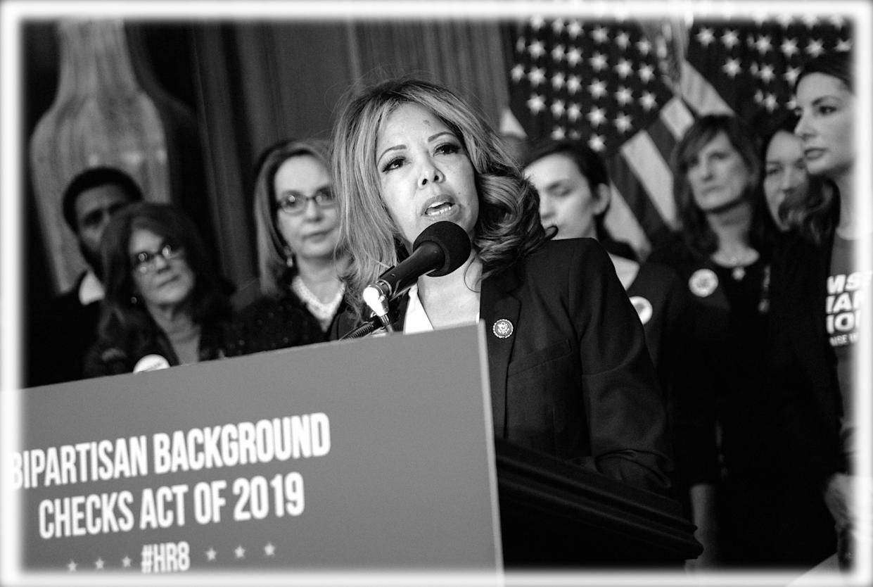Rep. Lucy McBath speaks at the unveiling of legislation to expand background checks for sales of firearms, January 2019. (Photo: Al Drago/Bloomberg via Getty Images, digitally enhanced by Yahoo News)