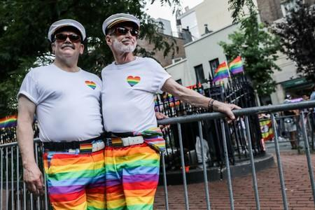 FILE PHOTO: People participate during the 50th Anniversary of the Stonewall Uprising in Manhattan in New York City