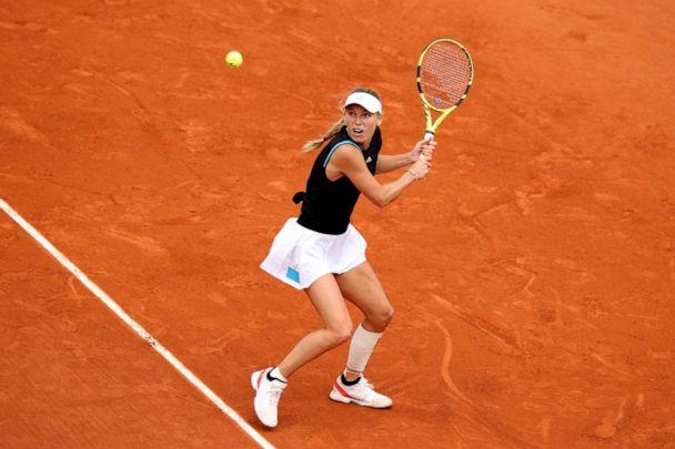 PHOTO: Caroline Wozniacki of Denmark plays a backhand during her ladies singles first round match against Veronika Kudermetova of Russia during Day two of the 2019 French Open at Roland Garros, May 27, 2019, in Paris. (Adam Pretty/Getty Images, FILE)