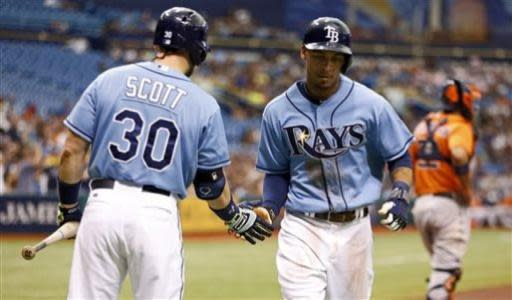 Tampa Bay Rays' Desmond Jennings, right, is congratulated by Luke Scott after scoring during the first inning of a baseball game against the Houston Astros Sunday, July 14, 2013, in St. Petersburg, Fla. (AP Photo/Mike Carlson)