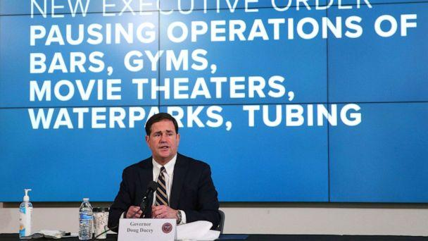 PHOTO: Arizona Gov. Doug Ducey announces a new executive order in response to the rising COVID-19 cases in the state, during a news conference in Phoenix on Monday, June 29, 2020. (Michael Chow/AP)