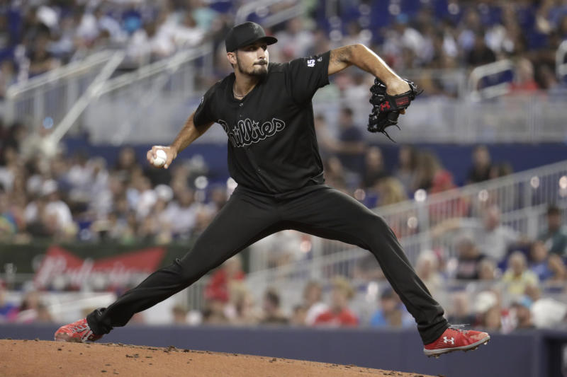 Philadelphia Phillies starting pitcher Zach Eflin throws during the third inning of a baseball game against the Miami Marlins, Saturday, Aug. 24, 2019, in Miami. (AP Photo/Lynne Sladky)