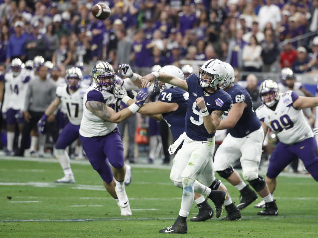 Trace McSorley (9) led Penn State to a Big Ten title in 2016 and a Fiesta Bowl win in 2017. (AP Photo/Rick Scuteri)