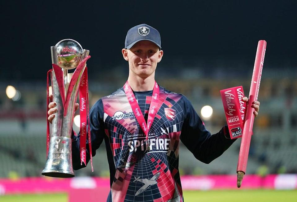 Jordan Cox celebrates with the trophy and the player of the match award (Mike Egerton/PA) (PA Wire)