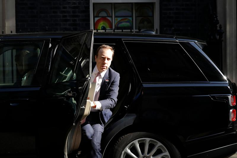 Health Secretary Matt Hancock arrives for a coronavirus meeting at 10 Downing Street  (Photo: ASSOCIATED PRESS)