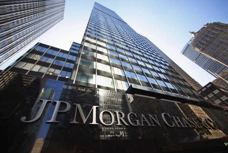 File of JP Morgan Chase & Co sign outside headquarters in New York
