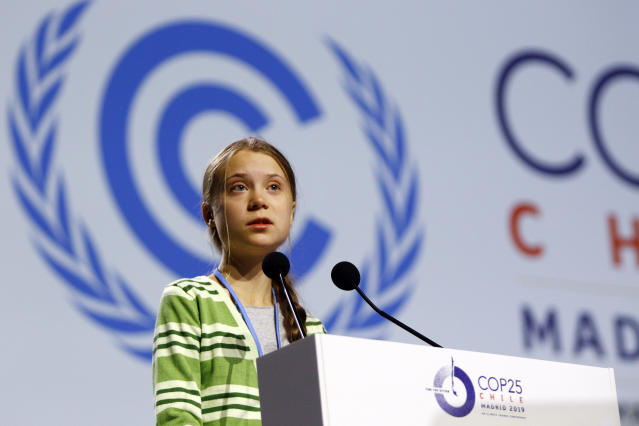 Greta Thunberg during the ninth day oif COP25 Chile-Madrid at IFEMA Madrid on 11 Dec 2019.(ALTERPHOTOS/Manu R.B./Sipa USA)