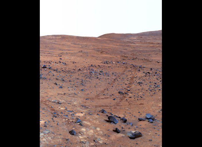 """Spirit shot this 360° false color Pancam view, called the """"Seminole"""" panorama, on sols 672-677 (Nov. 23-28, 2005) while descending the southern slopes of Husband Hill. <em>From """"Postcards from Mars"""" by Jim Bell; Photo credit: NASA/JPL/Cornell University</em>"""
