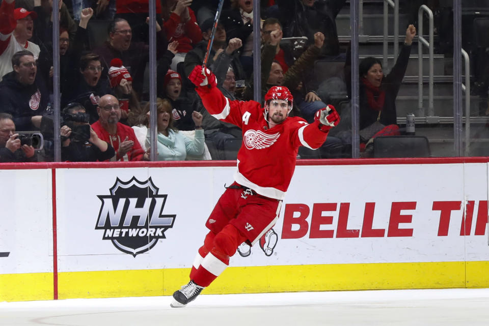 Detroit Red Wings center Dylan Larkin celebrates his goal against the Florida Panthers in the second period of an NHL hockey game Saturday, Jan. 18, 2020, in Detroit. (AP Photo/Paul Sancya)