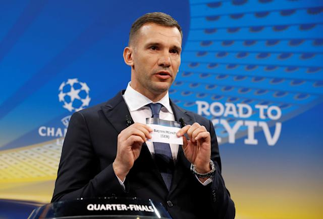 Soccer Football - Champions League Quarter-Final Draw - Nyon, Switzerland - March 16, 2018 Andriy Shevchenko draws Bayern Munich REUTERS/Pierre Albouy