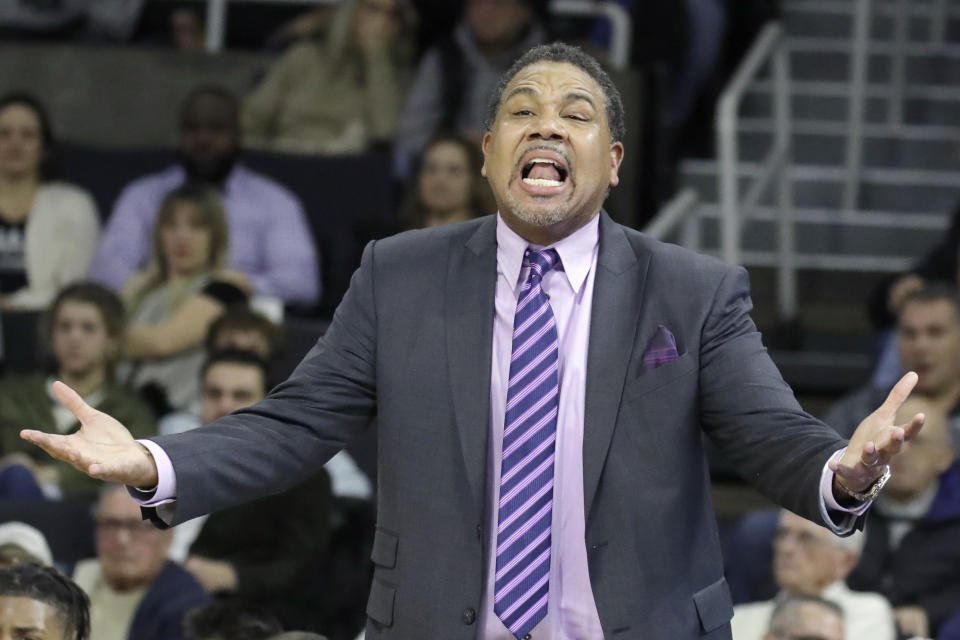 Providence coach Ed Cooley instructs his team during the first half of an NCAA college basketball game against Butler, Friday, Jan. 10, 2020, in Providence, R.I. (AP Photo/Elise Amendola)