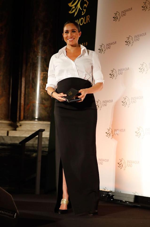 <p>For the 2019 Endeavour Awards, Meghan chose a monochrome ensemble by Givenchy teamed with Aquazzura's £530 Rendez Vous mules. <em>[Photo: Getty]</em> </p>