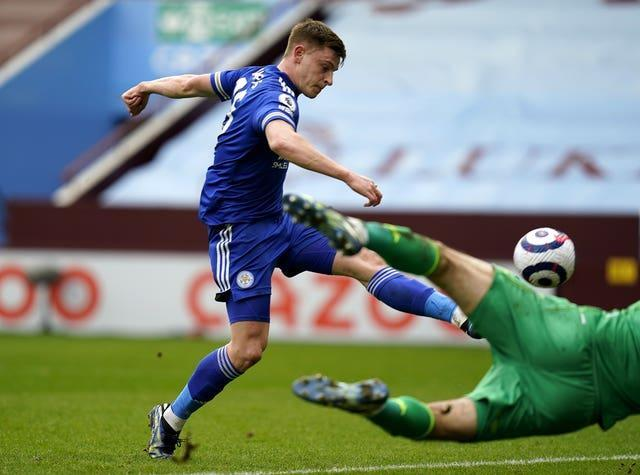 Harvey Barnes scores for Leicester at Aston Villa