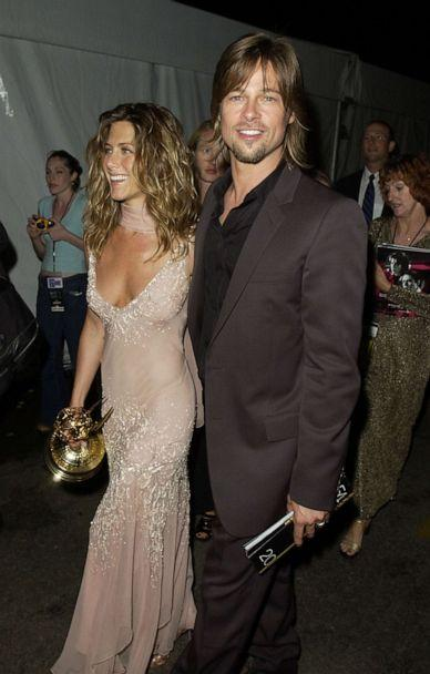 PHOTO: In this Sept. 22, 2002, file photo, Jennifer Aniston and Brad Pitt are shown backstage at the The 54th Annual Primetime Emmy Awards. (Michael Caulfield Archive/WireImage via Getty Images, FILE)