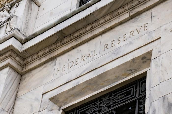 The facade of a Federal Reserve building.