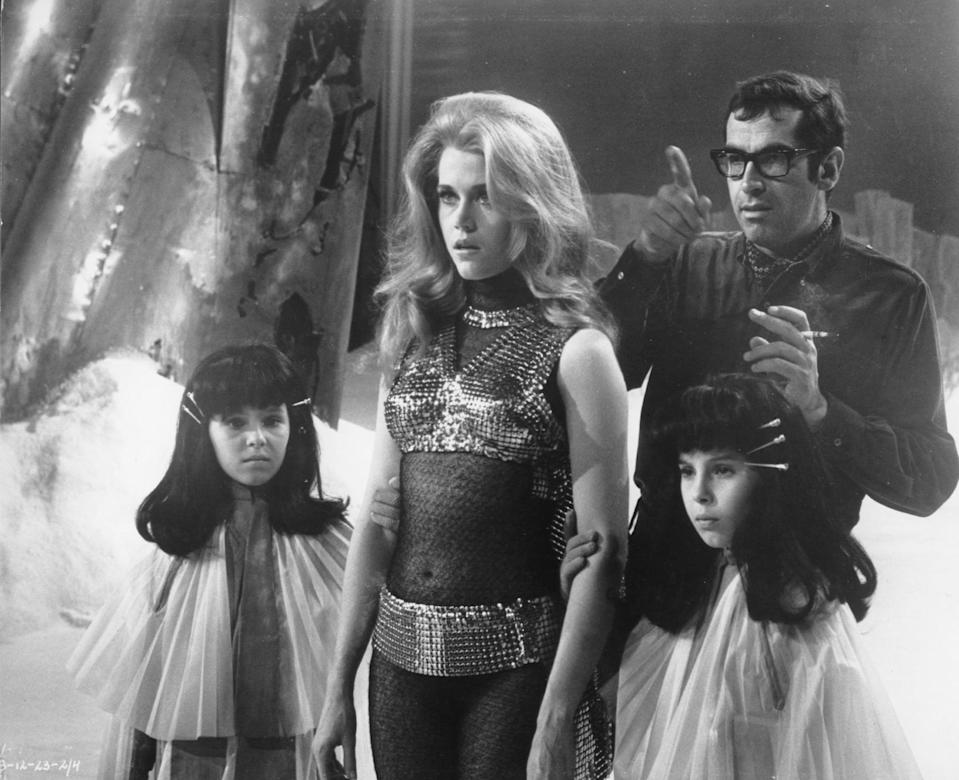 """<p>One of Jane's most high-profile roles is the sexy space traveler Barbarella in the 1968 cult classic of the same name. Based on a French comic series, <strong>Barbarella</strong> sent Jane into '60s bombshell territory. The science-fiction flick was directed by Roger Vadim, and in <a rel=""""nofollow noopener"""" href=""""https://www.popsugar.com/buy?url=https%3A%2F%2Fwww.amazon.com%2FMy-Life-Far-Jane-Fonda%2Fdp%2F0812975766&p_name=her%202005%20autobiography%2C%20%3Cstrong%3EMy%20Life%20So%20Far%3C%2Fstrong%3E&retailer=amazon.com&evar1=pop%3Aus&evar9=45318476&evar98=https%3A%2F%2Fwww.popsugar.com%2Fcelebrity%2Fphoto-gallery%2F45318476%2Fimage%2F45318662%2FOne-Jane-most-high-profile-roles-sexy-space-traveler&list1=jane%20fonda%2Ccelebrity%20breakups%2Ccelebrity%20couples%2Ccelebrity%20facts&prop13=desktop&pdata=1"""" target=""""_blank"""" data-ylk=""""slk:her 2005 autobiography, My Life So Far"""" class=""""link rapid-noclick-resp"""">her 2005 autobiography, <strong>My Life So Far</strong></a>, Jane revealed how tense things got for them on the set. Roger began drinking heavily during filming, and """"his decisions about how to shoot scenes often seemed ill-considered."""" At the time, Jane was also struggling with bulimia, and as """"a young woman who hated her body . . . playing a scantily clad, sometimes-naked sexual heroine,"""" she was insecure about her appearance during production and photo shoots.</p> <p>In September 1968, Jane and Roger welcomed a daughter, Vanessa, who was named after the legendary actress and activist Vanessa Redgrave. The couple divorced in 1973. Roger Vadim died of cancer in 2000, and Jane - along with fellow ex-wives Brigitte Bardot, Catherine Schneider, and Annette Stroyberg - was in attendance at his funeral.</p>"""