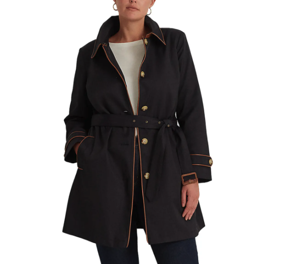 """<p><strong>Ralph Lauren</strong></p><p>nordstrom.com</p><p><strong>$220.00</strong></p><p><a href=""""https://go.skimresources.com?id=74968X1525079&xs=1&url=https%3A%2F%2Fwww.nordstrom.com%2Fs%2Flauren-ralph-lauren-trench-raincoat-plus-size%2F5958351%3Forigin%3Dkeywordsearch-personalizedsort%26breadcrumb%3DHome%252FAll%2520Results%26color%3D400"""" rel=""""nofollow noopener"""" target=""""_blank"""" data-ylk=""""slk:Shop Now"""" class=""""link rapid-noclick-resp"""">Shop Now</a></p><p>Every well-dressed woman needs a luxe trench that will keep her dry and chic on rainy days, and Ralph Lauren's iteration is a great place to start. </p>"""